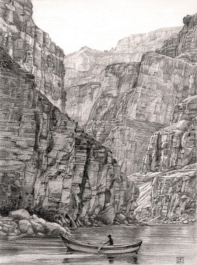 Canyon Faces Drawing by Lisa Fusco