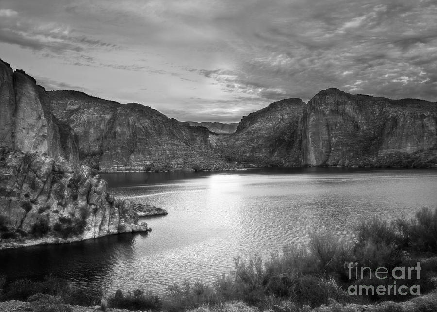 Canyon Lake on Apache Trail in Black and White by Lee Craig