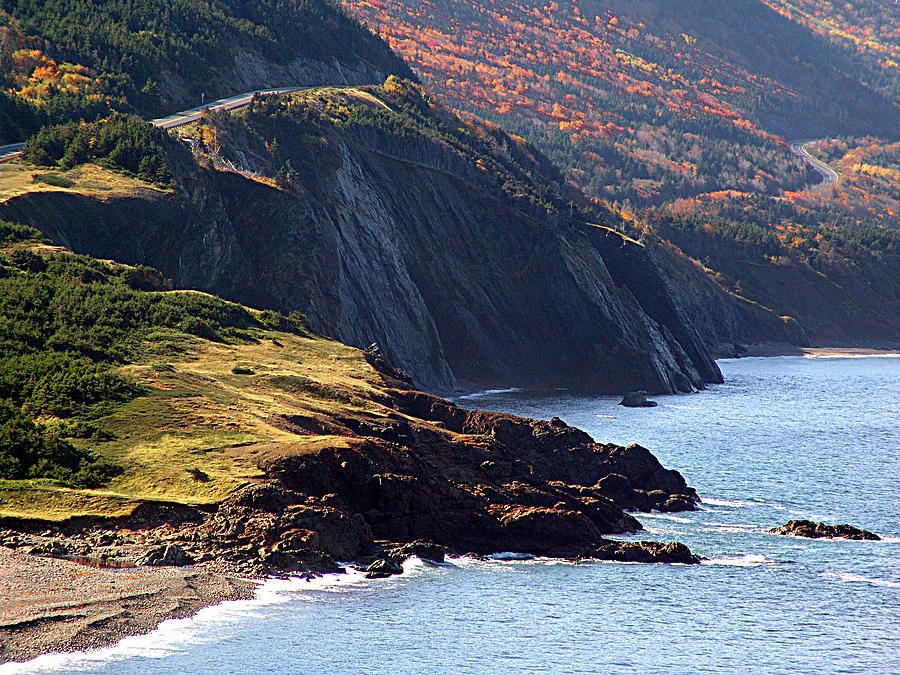 Cape Breton Island Mixed Media - Cap Rouge In Autumn by Janet Ashworth