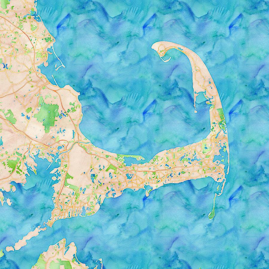 Cape Cod Watercolor Map Digital Art by Joy McKenzie