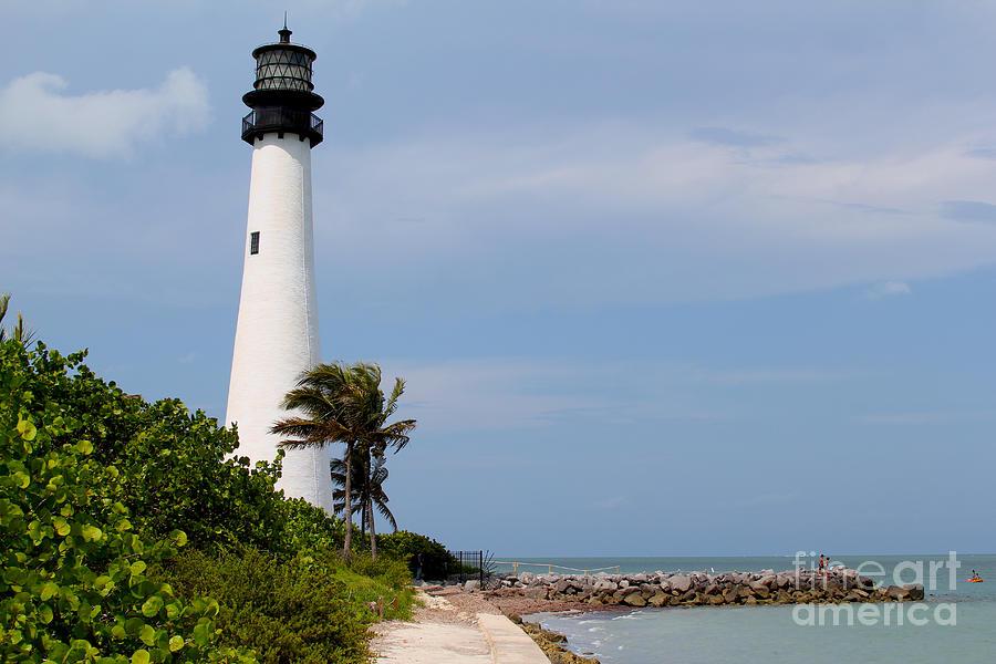Lighthouse Photograph - Cape Florida Beach by Carey Chen