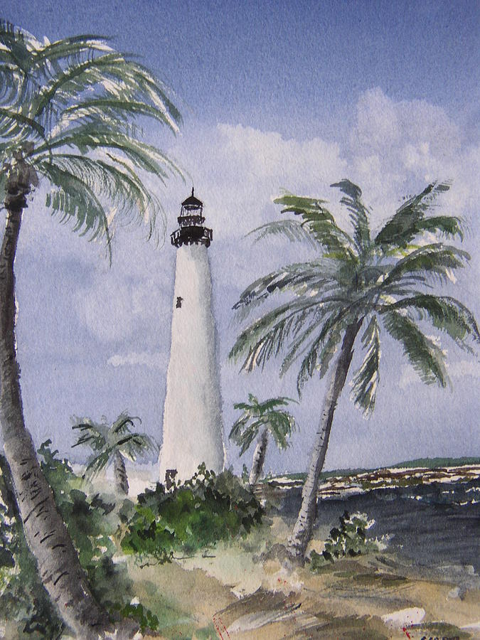 Seascape Painting - Cape Florida Light by Stephanie Sodel