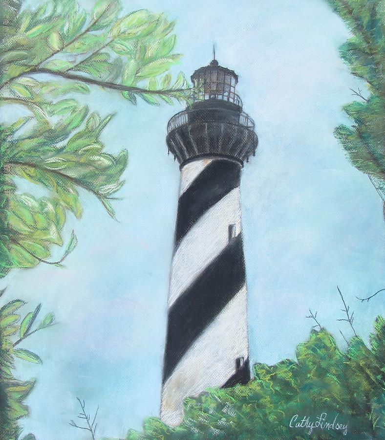 Lighthouse Pastel - Cape Hatteras Light by Cathy Lindsey