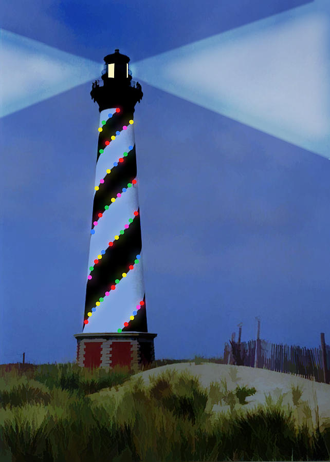 Cape Hatteras Lighthouse Christmas Lights by Elaine Plesser
