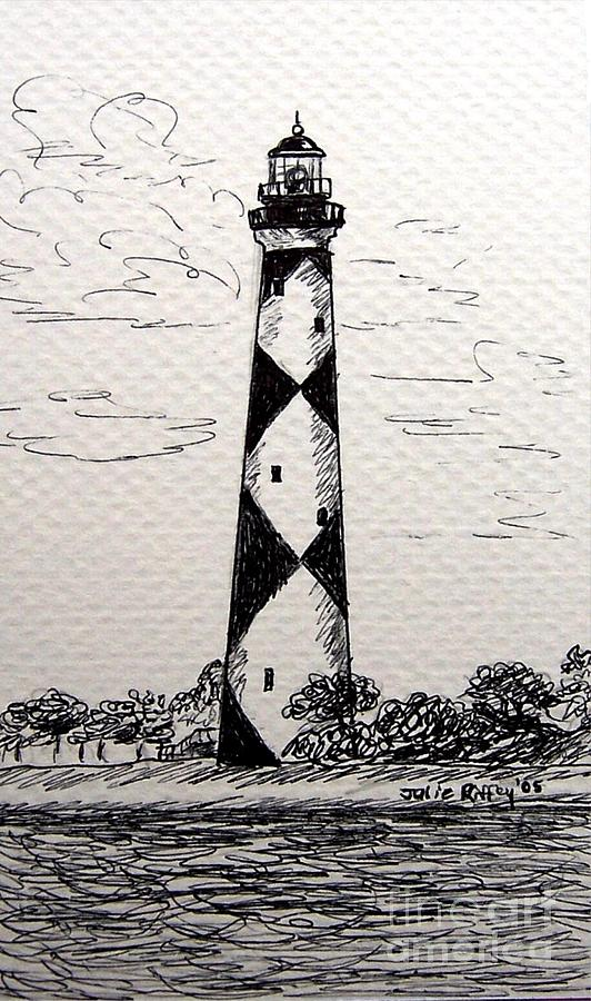 Cape Blanco Lighthouse 11 x14 Matted Print   Cape Fear Lighthouse Line Drawing
