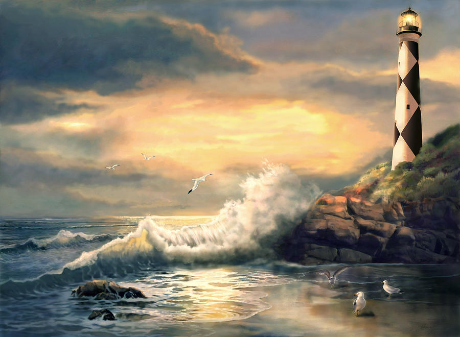 Twindeling Light Cape Lookout Lighthouse North Carolina At Sunset Painting
