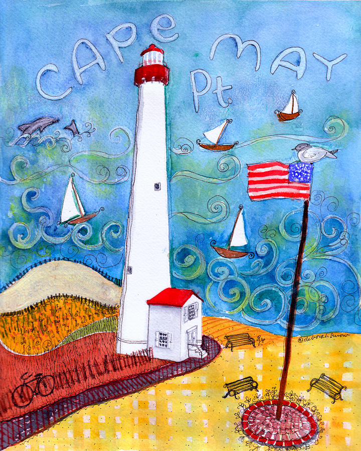 Lighthouse Painting - Cape May Point Lighthouse by Deborah Burow