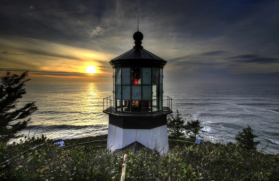 Cape Meares Photograph - Cape Meares Lighthouse at Sunset by David Gn