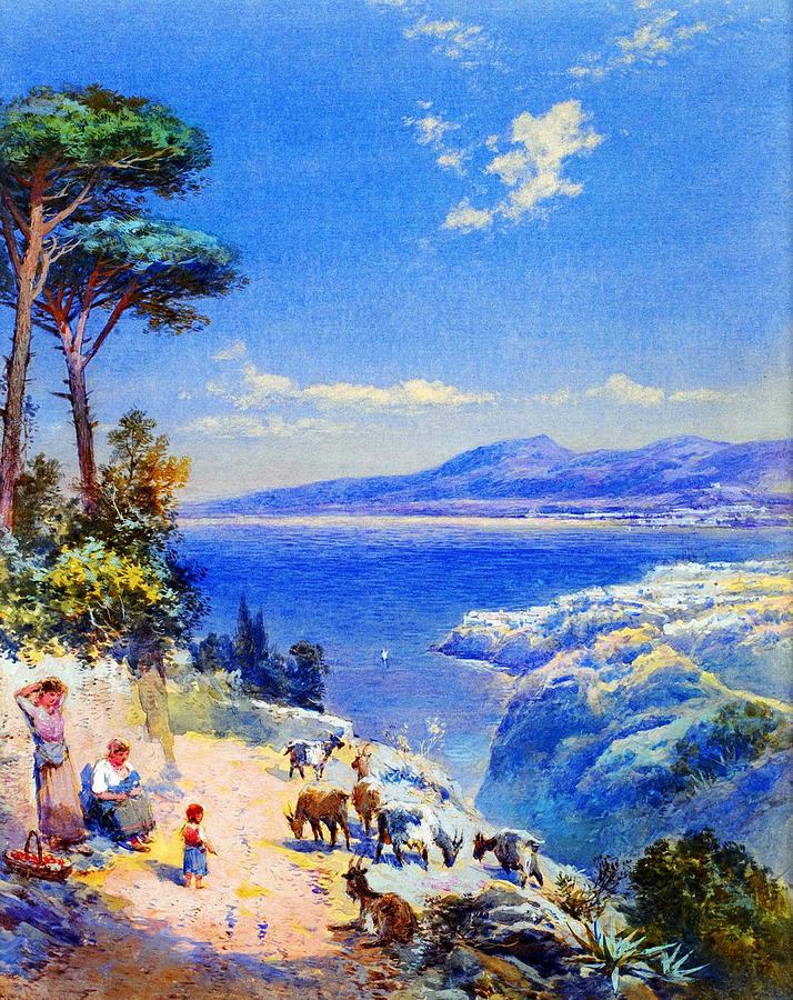 Cape Miseno With Castelamane Beyond Painting