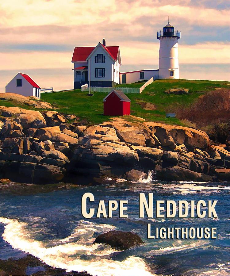 Travel Painting - Cape Neddick Lighthouse  At Sunset  by Elaine Plesser