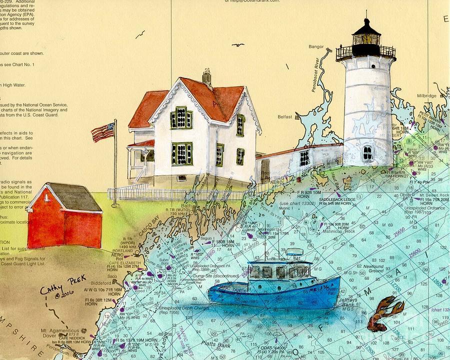 Cape Painting - Cape Neddick Lighthouse Me Nautical Chart Map Art Cathy Peek by Cathy Peek