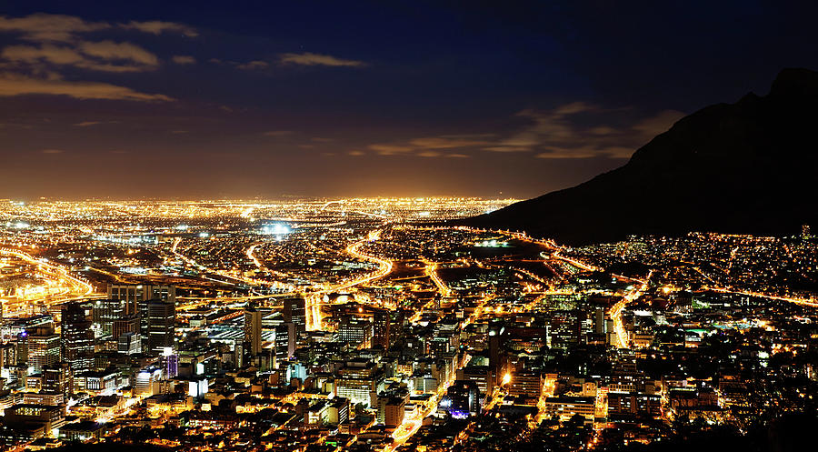 Cape Town, South Africa By Night Photograph by Clicknique