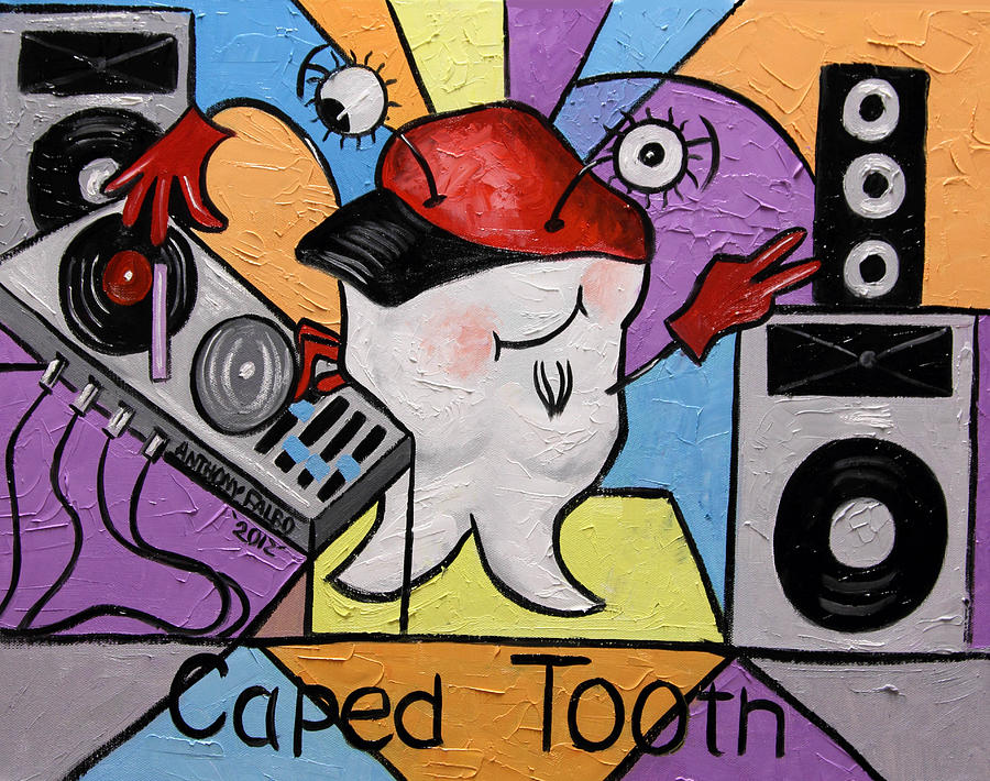 Tooth Painting - Caped Tooth by Anthony Falbo