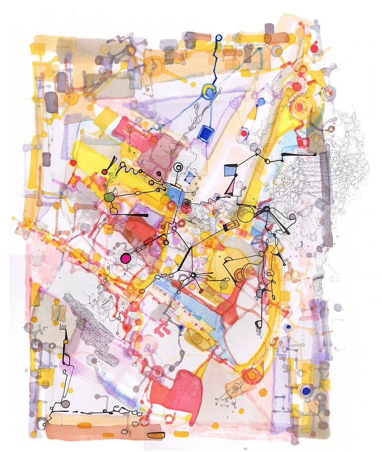 Ink Drawing - Capillarity And Diffusion by Regina Valluzzi