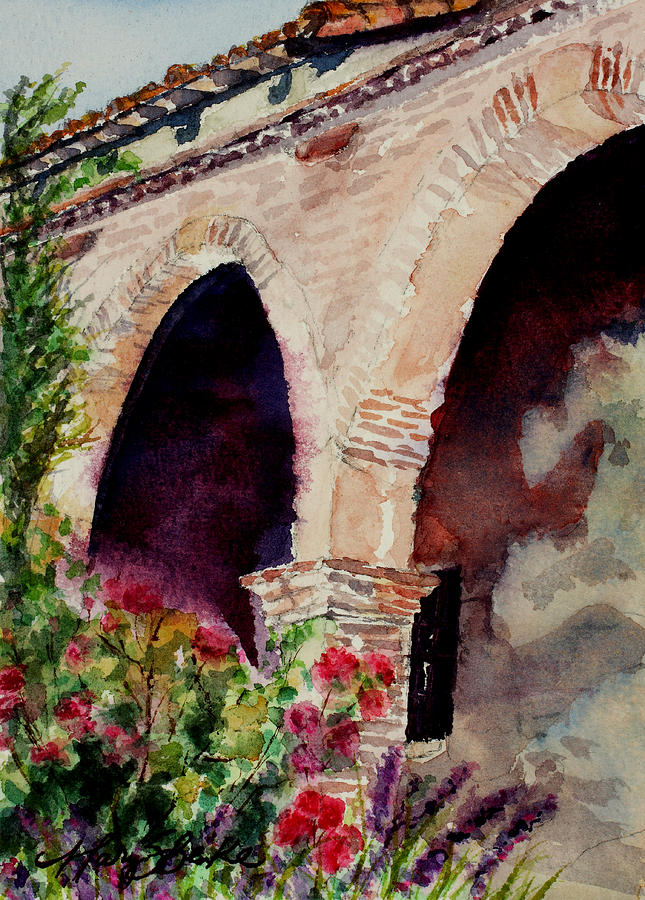 Watercolor Painting - Capistrano Arches by Mary Benke
