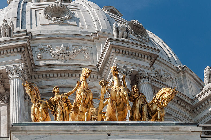 Minnesota Photograph - Capitol Golden Horses by Lonnie Paulson