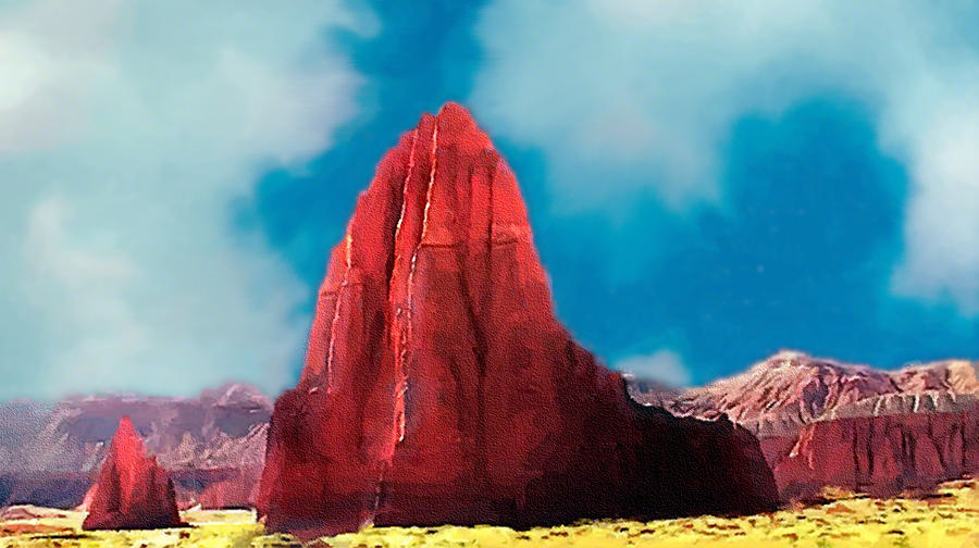 Capitol Reef Temple Of The Sun Painting Forsale Digital Art