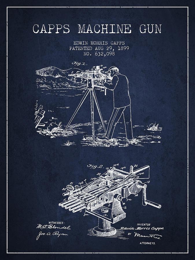 Machine Gun Digital Art - Capps Machine Gun Patent Drawing From 1899 - Navy Blue by Aged Pixel
