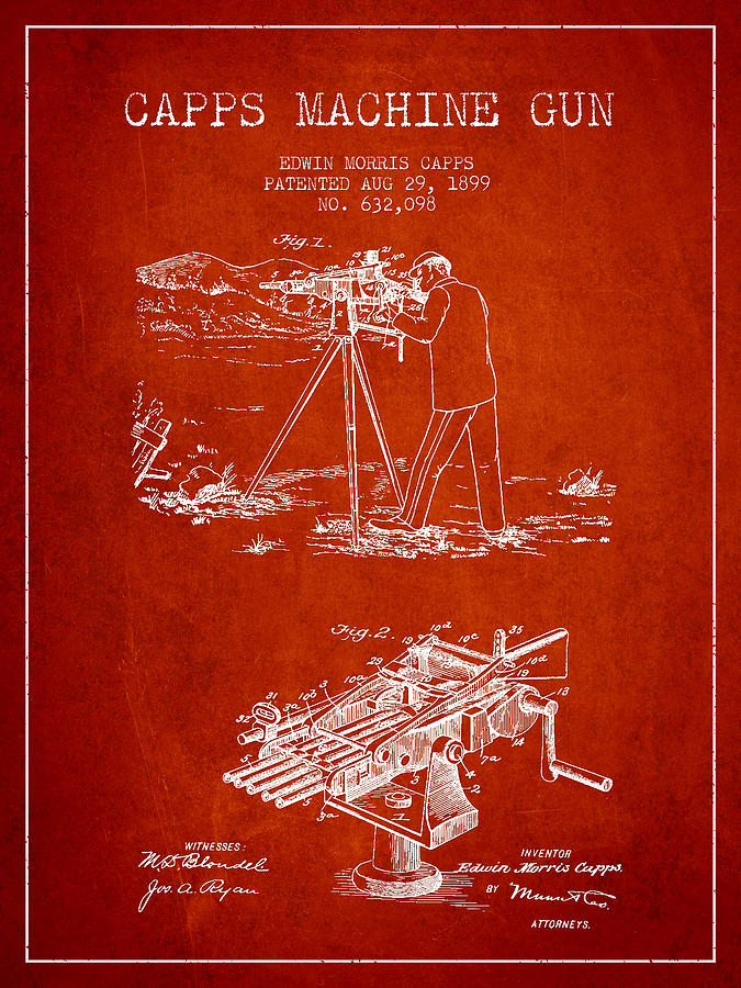 Machine Gun Digital Art - Capps Machine Gun Patent Drawing From 1899 - Red by Aged Pixel