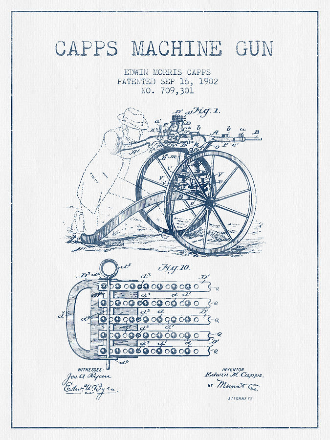 Capps Machine Gun Patent Drawing From 1902