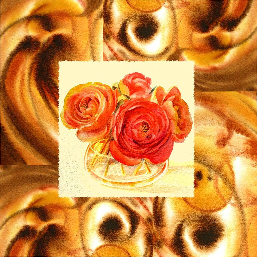 Ranunculus Painting - Cappuccino Abstract Collage Ranunculus   by Irina Sztukowski