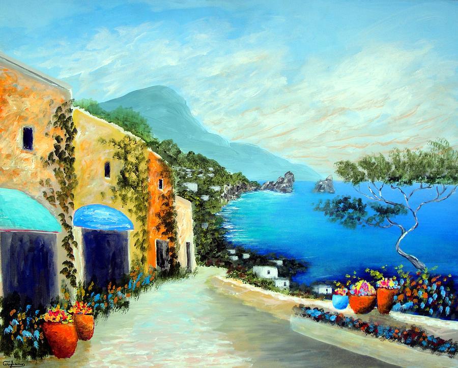 Amalfi Coast Painting - Capri Fantasies by Larry Cirigliano