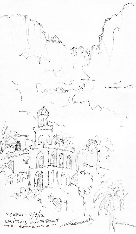 Crystal Cruises Drawing - Capri by Valerie Freeman