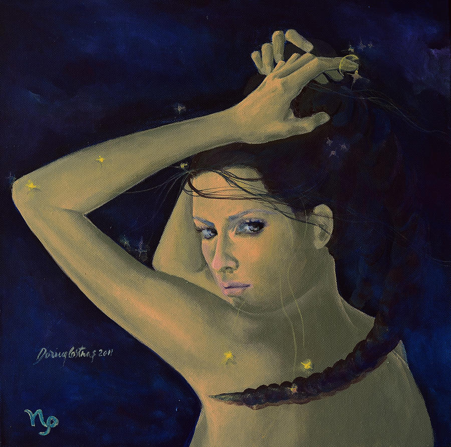Painting Painting - Capricorn From Zodiac Series by Dorina  Costras