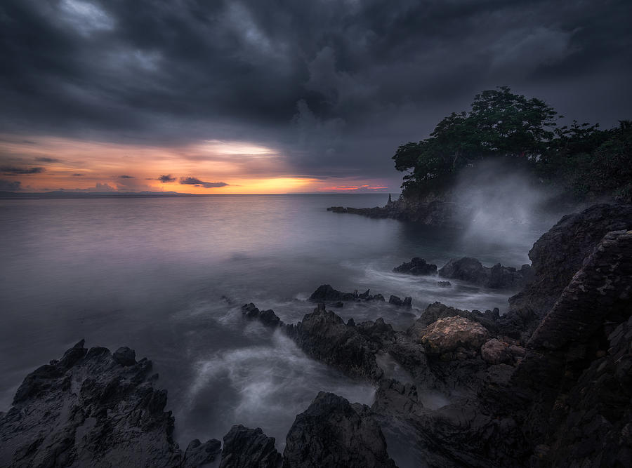 Landscape Photograph - Caprusan Temple Sunset by Ade Rizal