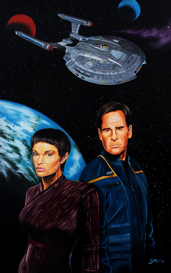 Star Trek Enterprise Painting - Captain Archer And T Pol by Robert Steen