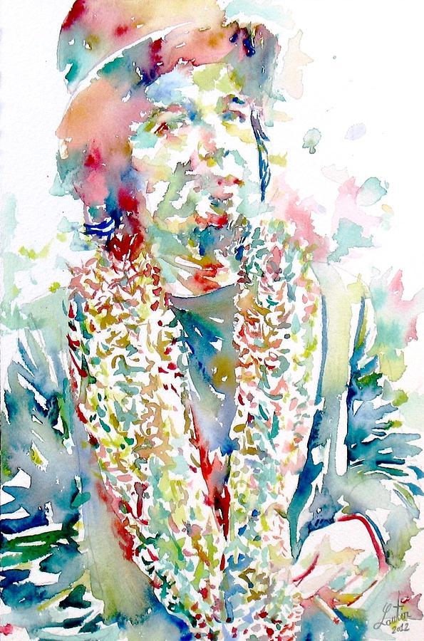 Captain Painting - Captain Beefheart Watercolor Portrait.2 by Fabrizio Cassetta