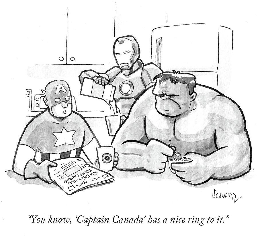 Captain Canada Has A Nice Ring Drawing by Benjamin Schwartz