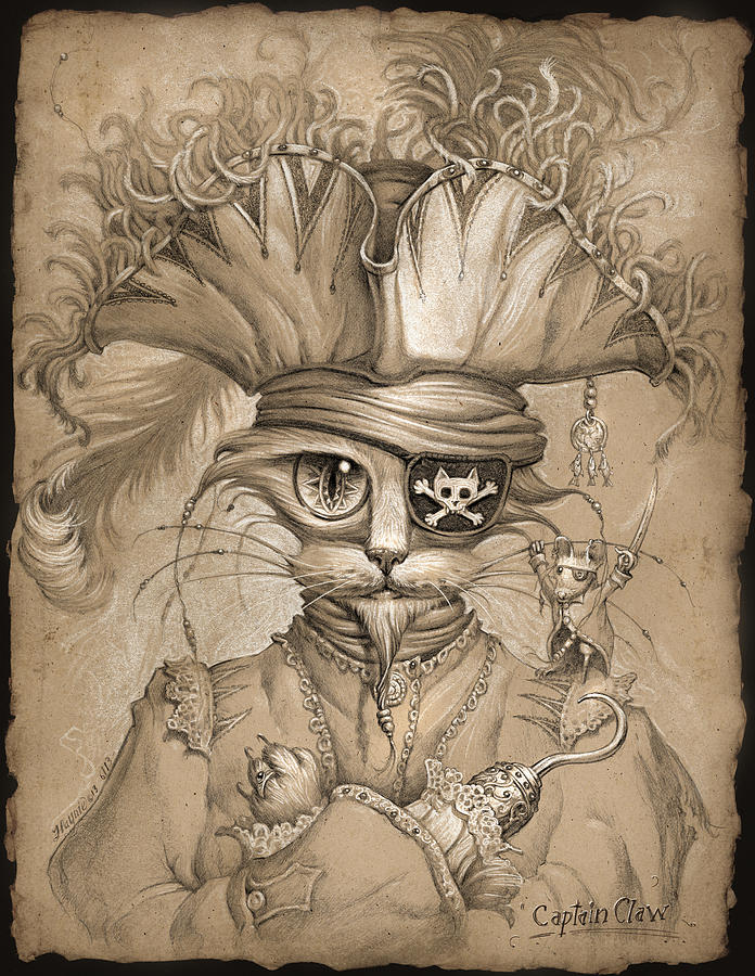 Cat Painting - Captain Claw by Jeff Haynie