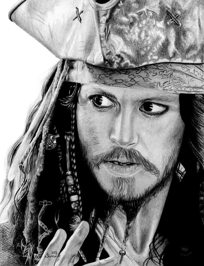 Jack Drawing - Captain Jack Sparrow by Kayleigh Semeniuk