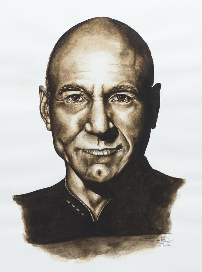 Star Trek Painting - captain Jean Luc Picard Star Trek TNG by Giulia Riva