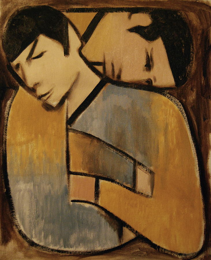 Spock Painting - Captain Kirk Spock Cubism Art Print by Tommervik