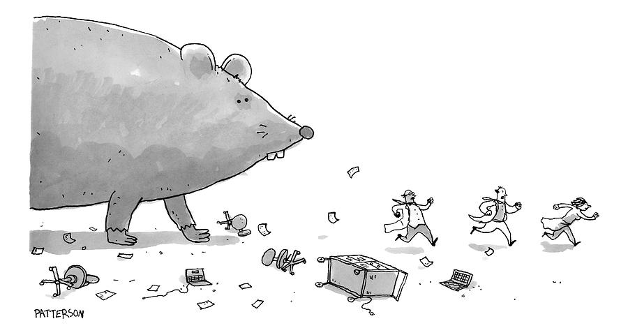 Captionless. Cctk. A Giant Rat Chases Scientists Drawing by Jason Patterson
