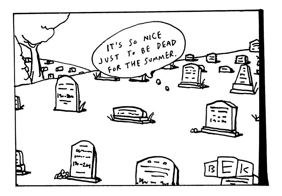 Captionless. In The Middle Of A Cemetery Drawing by Bruce Eric Kaplan