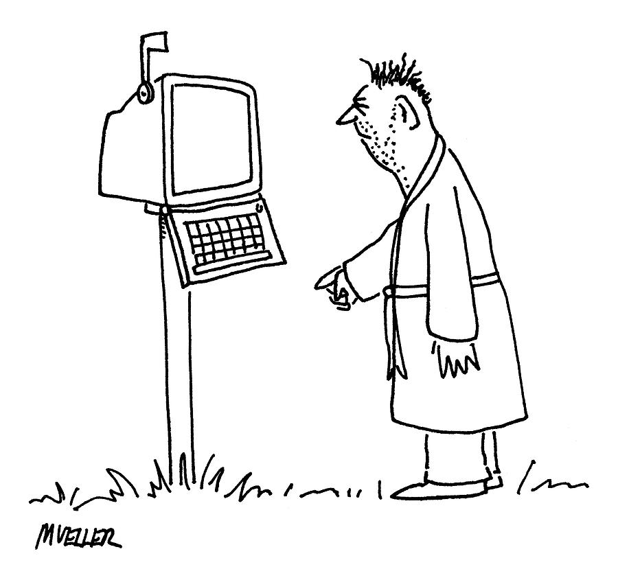 Captionless: Mailbox-computer Drawing by Peter Mueller