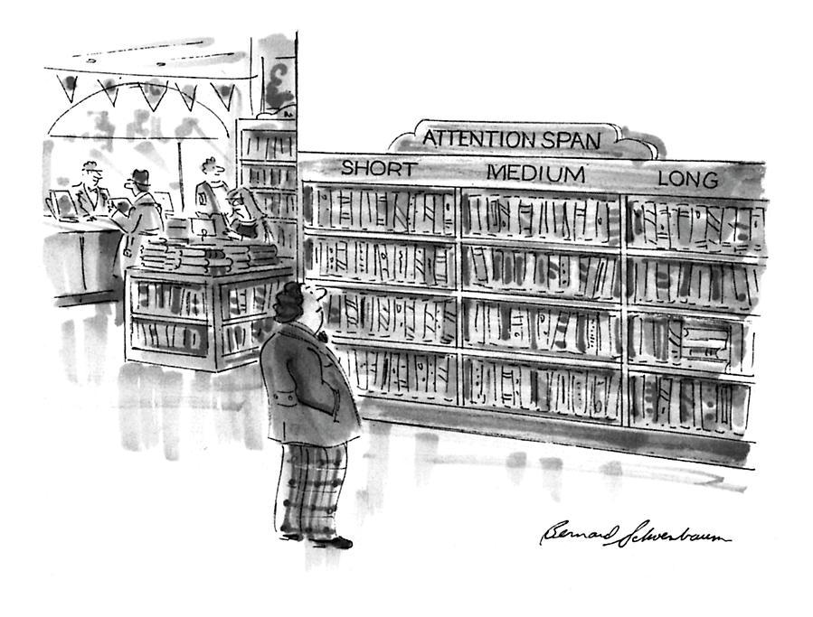 Captionless A Library Book Shelf Is Divided Drawing by Bernard Schoenbaum