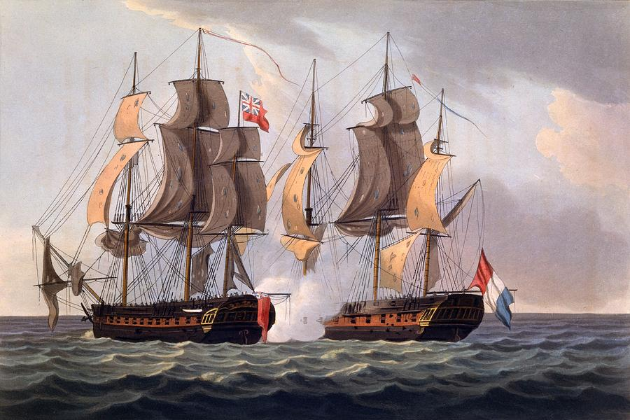 Ships Drawing - Capture Of La Proserpine by Thomas Whitcombe