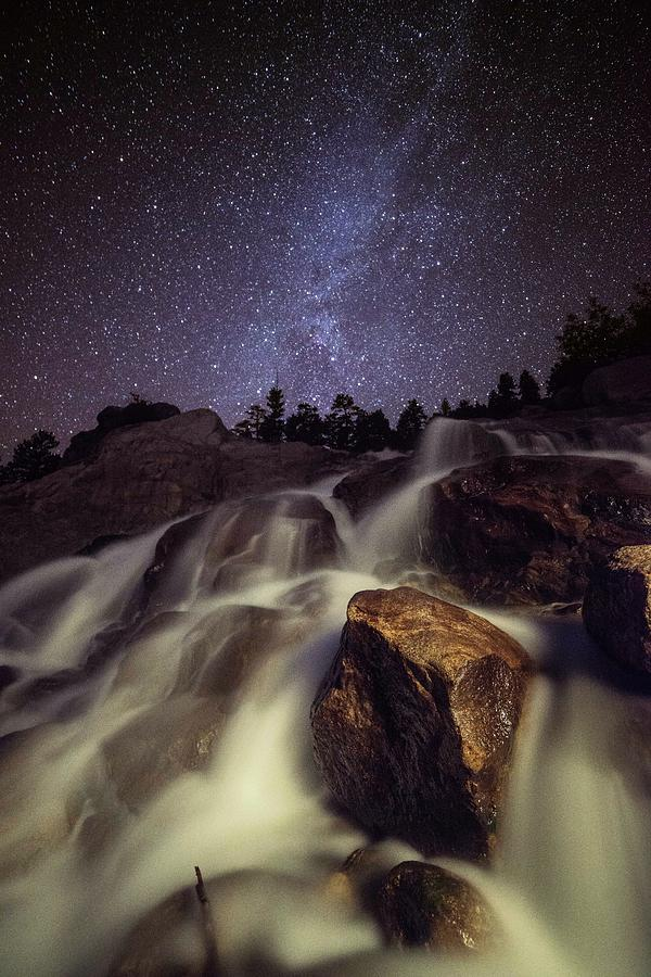 Capturing A Starry Night Waterfall In Photograph by Mike Berenson / Colorado Captures