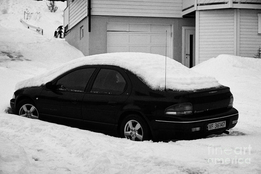Car Photograph - Car Buried In Snow Outside House In Honningsvag Norway Europe by Joe Fox