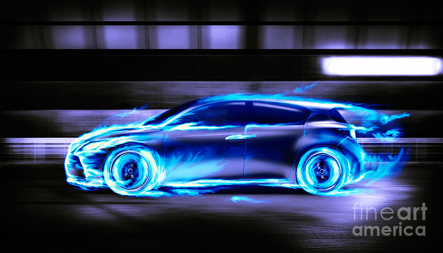 Car Burning In Blue Flames Racing In A Tunnel Photograph