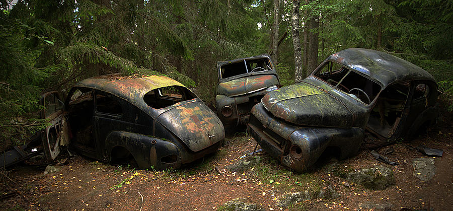 Car Photograph - Car Cemetery In The Woods. by Steen Lund Hansen