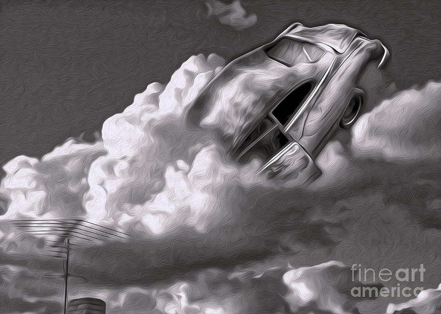 Surrealism Painting - Car Crash In The Clouds - Number 2 by Gregory Dyer