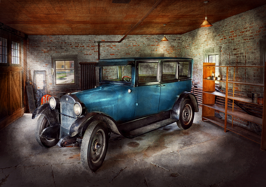 Savad Photograph - Car - Granpas Garage  by Mike Savad