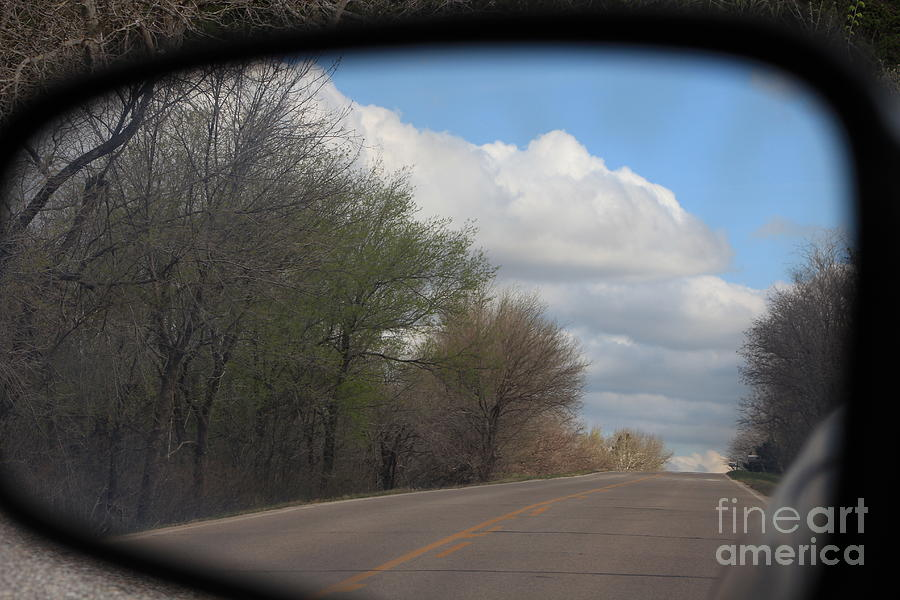Landscape Photograph - Car Mirror Landscape With Road And Sky. by Robert D  Brozek