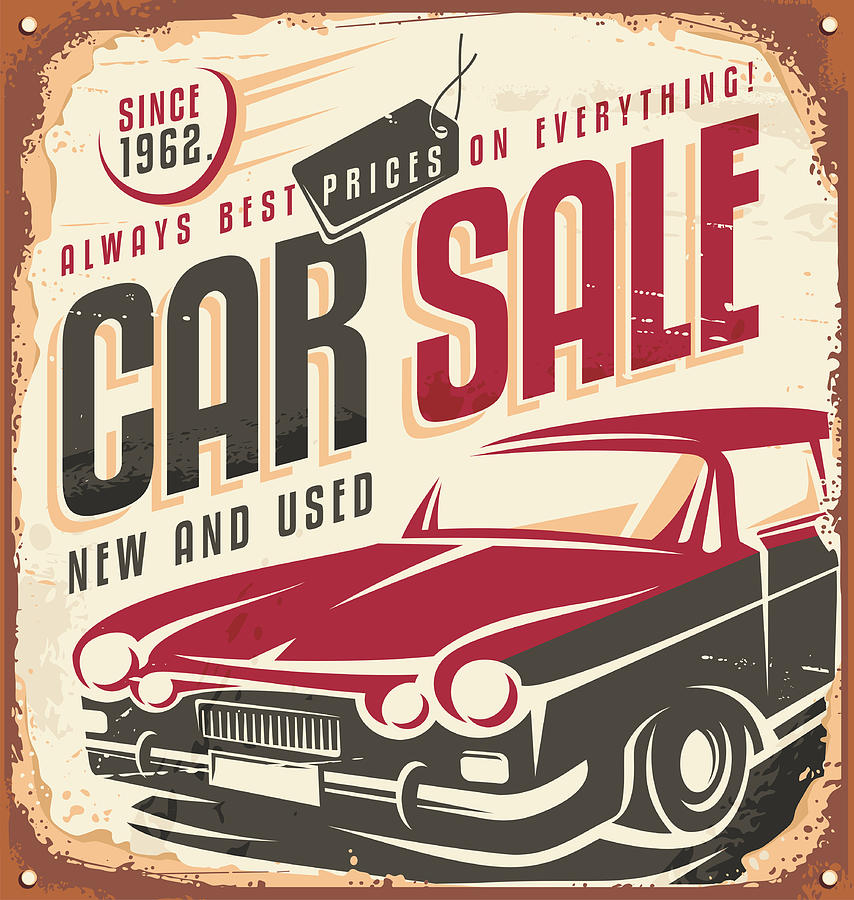 Car Sale Retro Sign Digital Art by Dejan Tomic
