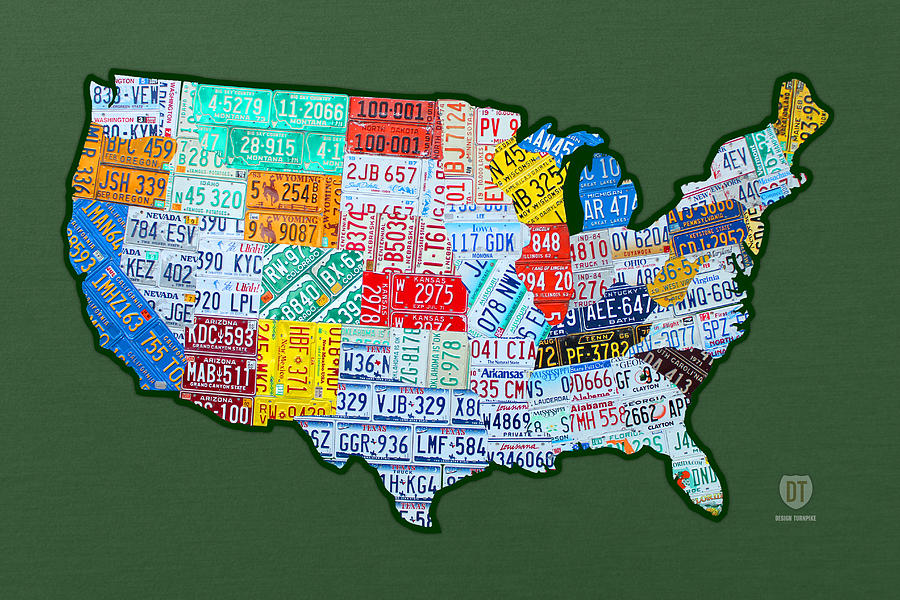 Car Tag Number Plate Art Usa On Green Mixed Media By Design Turnpike - Us liscense plate map